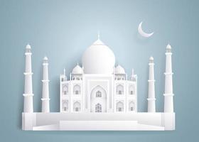 Taj Mahal Papier Kunststil vektor