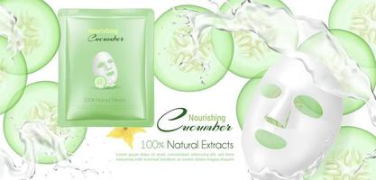Natural cream with cucumber background