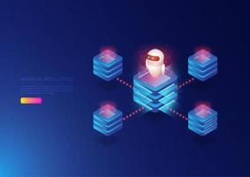 Ai technology isometric website  vector