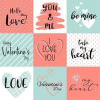 Happy Valentine's day background set vector