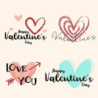 Hand Drawn Valentine's Day Design Set with Hearts