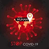 Stop Covid-19 Poster with Virus Cell