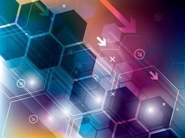 fond abstrait technologie colorée avec des hexagones