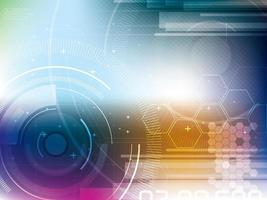 Abstract technology background with hexagons and lens flare vector