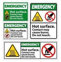 superficie caliente de emergencia no toque el conjunto de signos