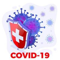 Bouclier pour fond de concept d'infection virale