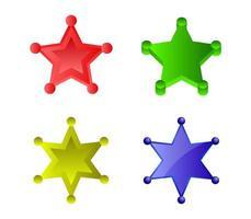 Satz mehrfarbiger Sheriff-Sterne vektor