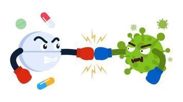cartoon pil vechten met virus