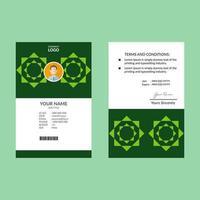 modelo de design de cartão de identificação de estrela geométrica verde