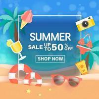 bannière de vente d'été avec des éléments d'été dans le cadre