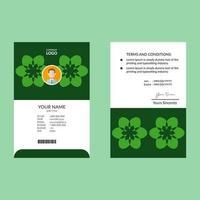 modelo de design de cartão de identificação de forma abstrata estrela verde