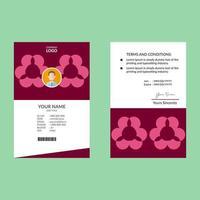 plantilla de diseño de tarjeta de identificación rosa y blanca con formas redondas abstractas