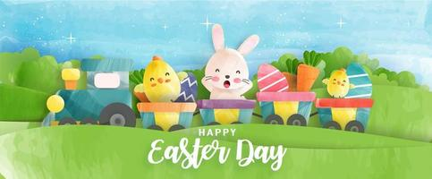 Watercolor Style Easter Banner with Chickens, Rabbit and Eggs