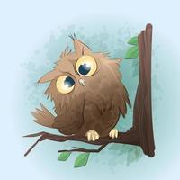 Cute owl character  vector