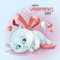 White kitten with flying hearts for valentine's day