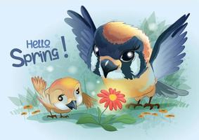 Two birds look at a flower
