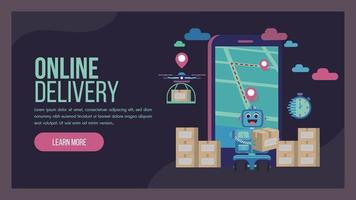 Delivery service landing page with robot and drone vector