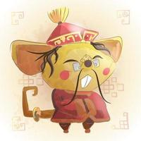 Ratón zodiaco chino animal de dibujos animados.