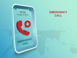 appel d'urgence par application sur téléphone intelligent vecteur