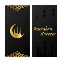 conjunto de banner preto e dourado do ramadan kareem