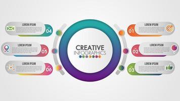 infográfico design circular com ícones e 6 etapas
