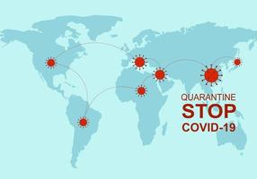 Infographic with COVID-19 virus on world map