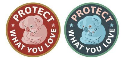 Logotypes of koala bears with a little babies vector
