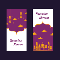 Set Ramadan Banners With Golden Mosque