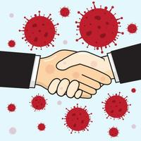 infección por coronavirus por un apretón de manos vector