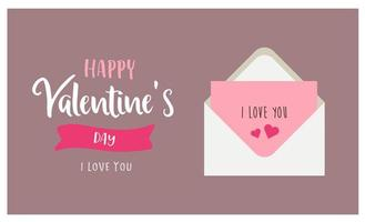 Valentines day greeting card with love letter