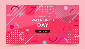 Valentines Day sale banner with geometric shapes