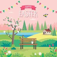 Happy Easter card with spring landscape