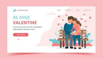 Valentines day landing page with couple on bench