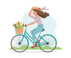 femme, faire vélo, à, fleurs, dans, panier vecteur