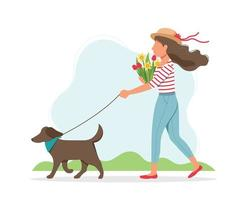 Woman walking dog with flowers