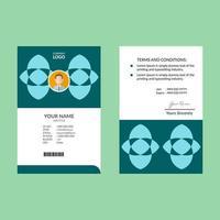 modelo de design de cartão de identificação vertical ciano