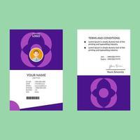 plantilla de diseño de tarjeta de identificación geométrica vertical púrpura