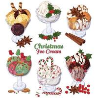 Group of vector colorful illustrations on the Christmas sweets theme, set of different kinds of ice-cream in bowls decorated with Christmas candies, fruits and nuts. Pictures contain realistic shadows and glare.