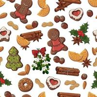 Seamless Pattern of Christmas Sweets, Fruit and Nuts