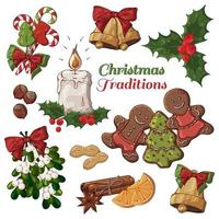 Colorful Illustrations of Christmas Items Including Candle