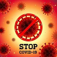 coronavirus con gradiente arancione, poster covid-19