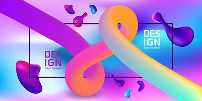 Colorful Banner with Gradient Corkscrew and Fluid Shapes