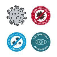 Coronavirus prevention icon set