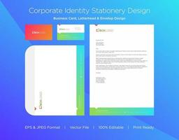 Gradient Border Corporate Identity Set with Triangle Accent