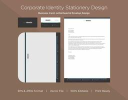 Thick Gray and Thin Cyan Border Corporate Identity Set