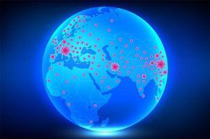 Plakat mit Coronavirus auf Globus