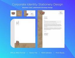 Brown Grunge Border Corporate Identity Set vector