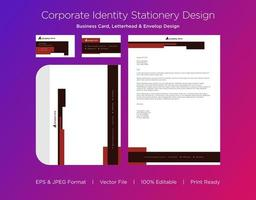 Red Notched Border Corporate Identity Set
