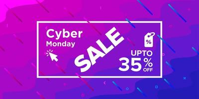 Wavy Shape Cyber Monday Sale Banner