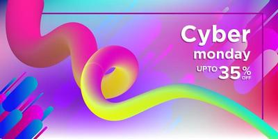 Multicolored Cyber Monday Banner with Corkscrew Shape